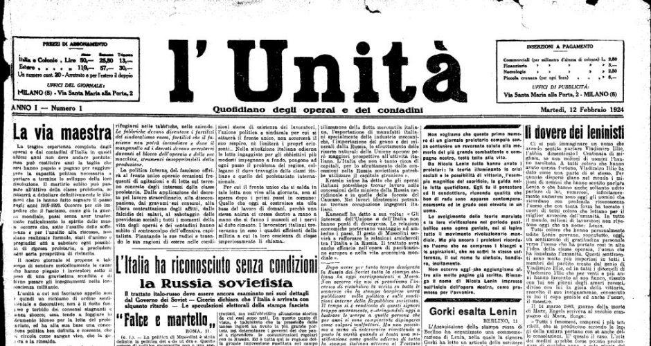 12 settembre 1923, Gramsci e la nascita de «l'Unità». Le origini del quotidiano nel pieno divampare della reazione fascista.